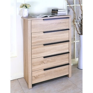 Benzara Brown Wood 5-drawer Chest