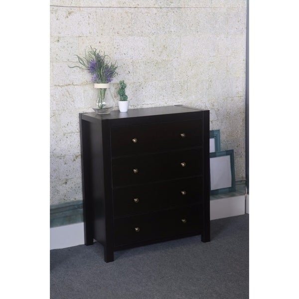 Contemporary Style Brown 4 Drawers Chest.