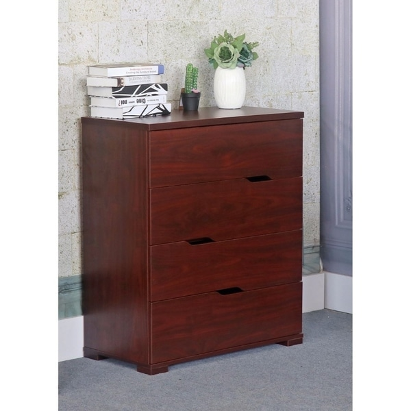 Spacious Brown Finish Chest With 4 Tier Storage Drawers