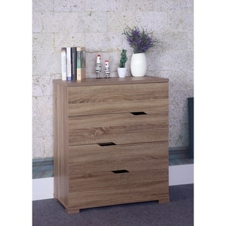 Benzara Grey Wood 4-drawer Chest