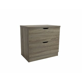Benzara Beautiful Grey Wood 2-drawer Chest with Metal Glides