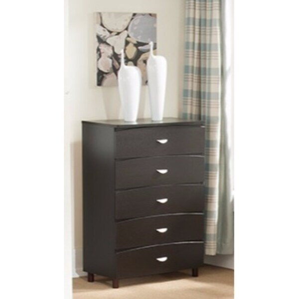 Capacious Brown Finish Chest with 5 Drawers On Metal Glides.