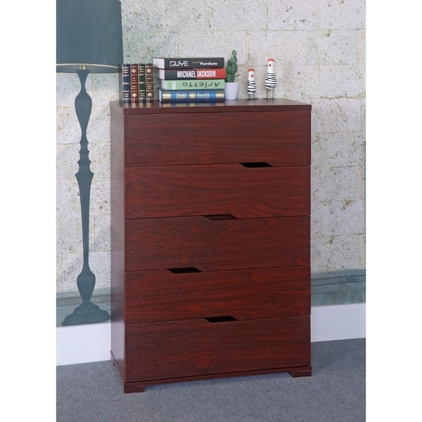 Commodious 5 Drawer Storage Chest With Metal Glides, Brown.