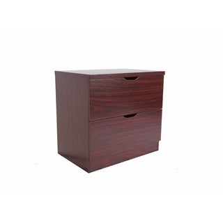 Benzara Spacious Cherry Brown Wood 2-drawer Chest with Metal Glides