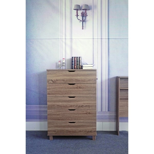 Spacious Brown Finish Chest With 5 Drawers On Metal Glides.