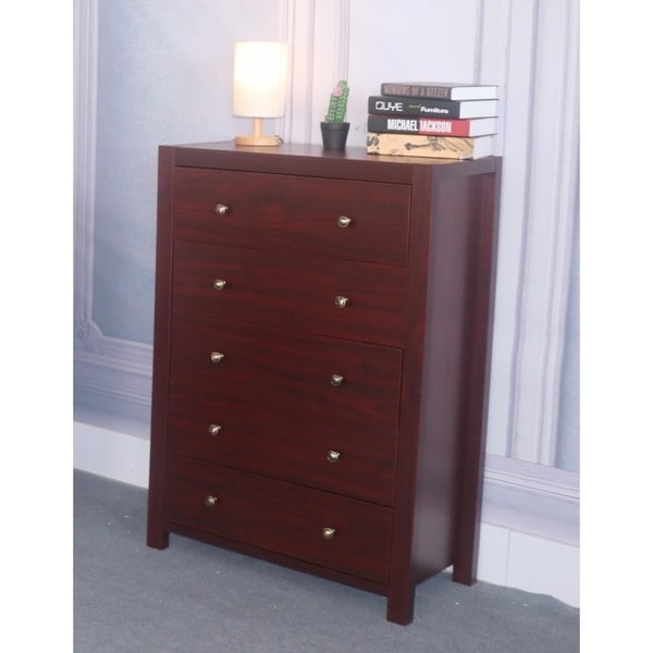 Benzara Cherry-brown-finished Wood and Veneer 5-drawer Chest With Metal Glides and Brass Knobs
