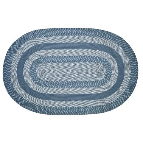 Newport Slate Blue Round Braided Rug - 8' x 8'