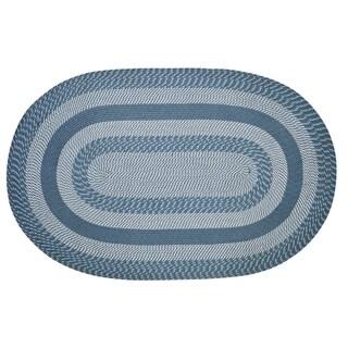 Newport 8' Round Braided Rug - Slate Blue