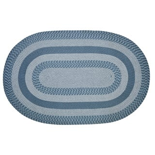 Better Trends Newport Slate Blue Braided Rug - 8' x 10' Oval