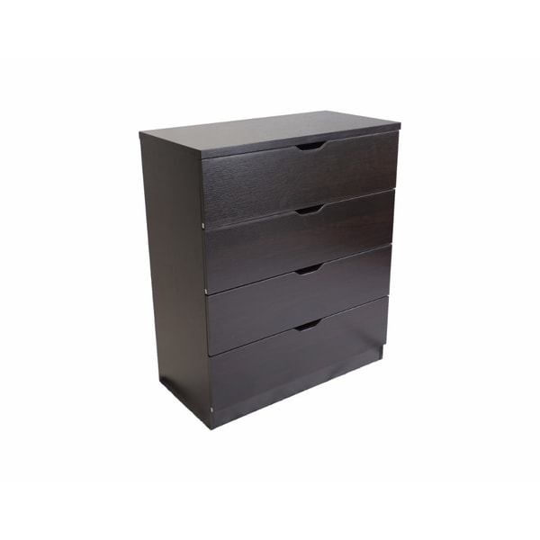 Benzara Elegant Red-chocolate-brown-finished Wood 4-drawer Chest With Chocolate-finished Metal Glides