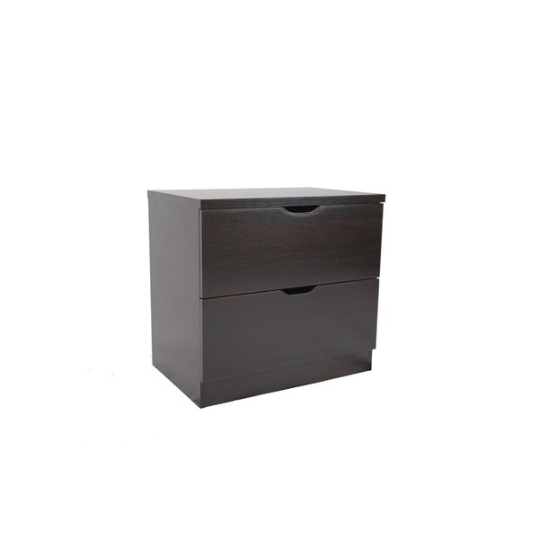 Benzara Luxurious Brown Wood 2-drawer Chest with Metal Glides