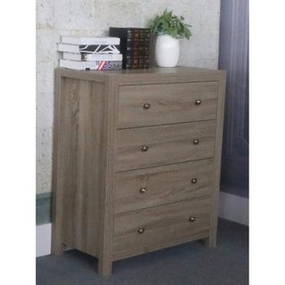 Benzara Grey Wood/Brass Knob 4-drawer Chest