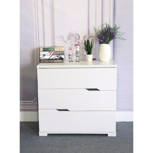 Perfect Benzara Commodious White Wood/Metal Glides 3 Drawer Storage Chest
