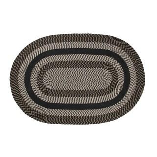 Newport 8' Round Braided Rug - Black
