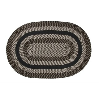 Better Trends Newport Black Round Braided Area Rug (8' x 8')