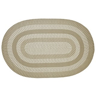 Better Trends Newport Tan Round Braided Area Rug (8' x 8')