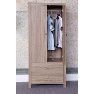 Capacious 2 Drawers Wardrobe With Metal Glides And Inner Hanging Rail.
