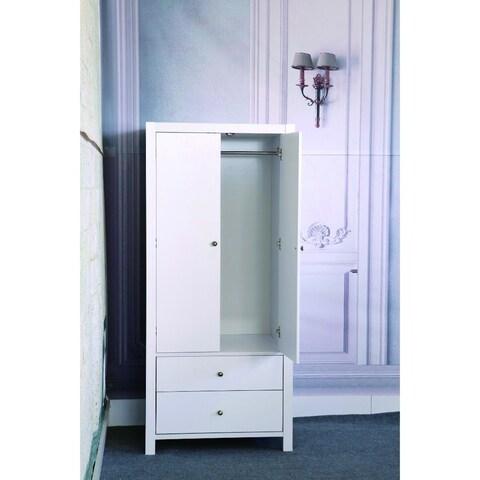 Spacious Gleaming White Finish 2 Magnet Closing Door Wardrobe