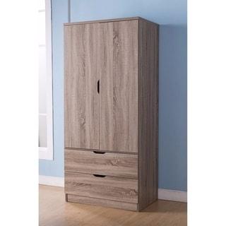 2 Door Wooden Wardrobe with Bottom Drawers, Dark Taupe Brown