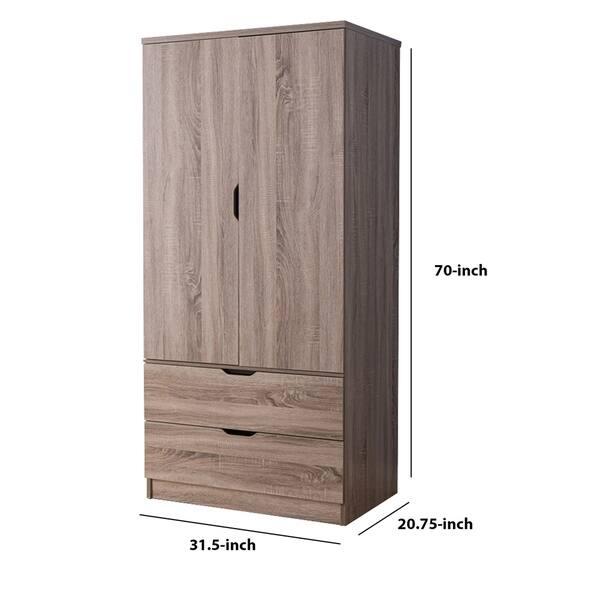 2 Door Wooden Wardrobe With Bottom