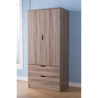 Gorgeous Brown Finish Two Door Wardrobe With Two Drawers.