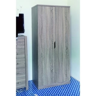 Commodious Gray 2 Door Wardrobe With 2 Bottom Shelves.