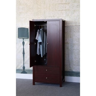 Magnet Closing Door Wardrobe With Inner Hanging Rail, Brown.