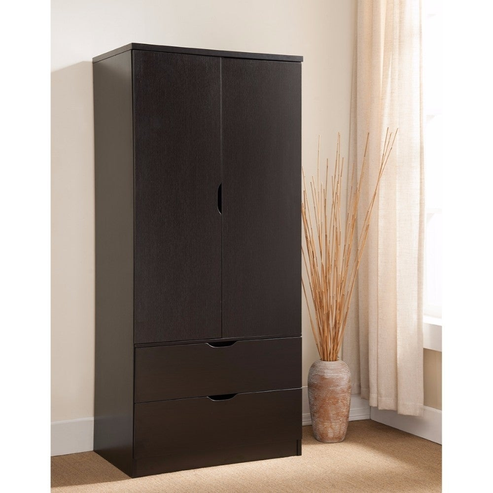 Spacious Two Door Wardrobe With Hanging Clothing Storage, Brown.