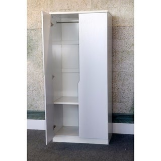 Elegant 2 Door Wardrobe With Two Bottom Shelves, White Finish.