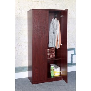 Clay Alder Home Gramercy 2-door Brown Wardrobe w/ Two Bottom Shelves