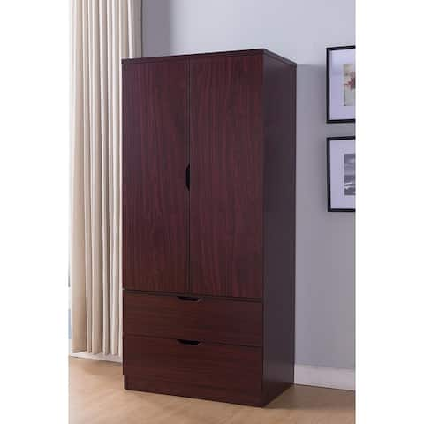 Spacious 2 Door Wooden Wardrobe with Bottom Drawers, Mahogany Brown