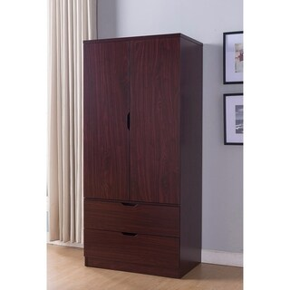 Sophisticated Two Door Wardrobe With Hanging Clothing Storage, Brown.