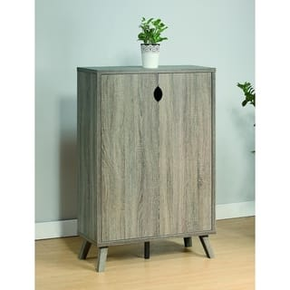 Roomy Shoe Cabinet With Flared Legs, Gray|https://ak1.ostkcdn.com/images/products/18088878/P24247776.jpg?impolicy=medium