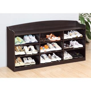 Spacious Shoe Cabinet With Nine Shelves, Brown|https://ak1.ostkcdn.com/images/products/18088886/P24247781.jpg?impolicy=medium