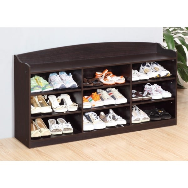 Spacious Shoe Cabinet With Nine Shelves, Brown
