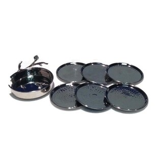 Heim Concept Sparkle Silver Leaf 7 pc Coasters Set