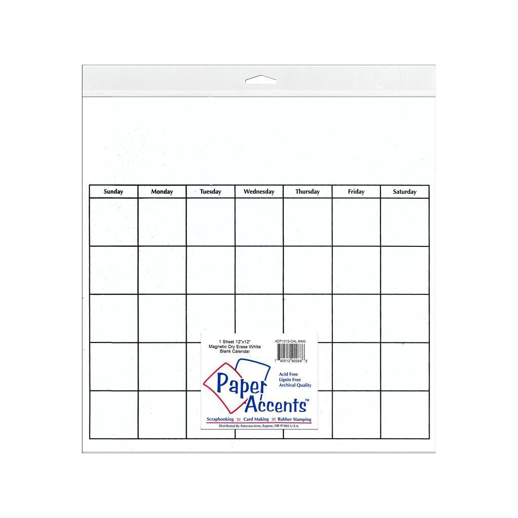 Paper Accents Calendar Page 12x12 Magnetic Dry Erase Whit...