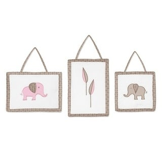 Sweet Jojo Designs Wall Hangings for the Pink and Taupe Mod Elephant Collection (Set of 3)