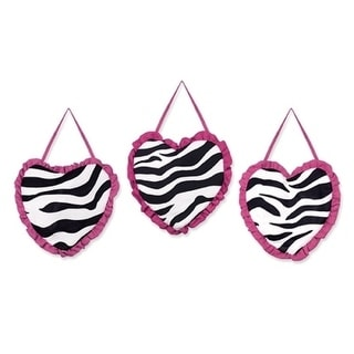 Sweet Jojo Designs Wall Hangings for the Pink Funky Zebra Collection (Set of 3)