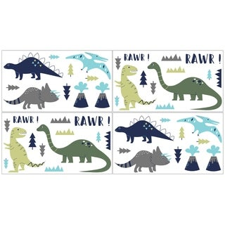 Sweet Jojo Designs Wall Decal Stickers for the Blue and Green Mod Dinosaur Collection (Set of 4)