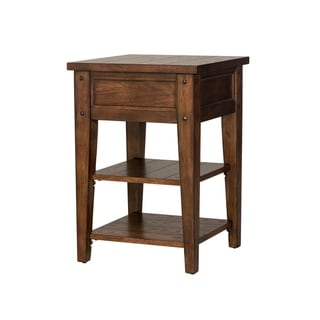 Lake House Rustic Brown Oak Chair Side Table
