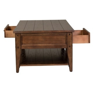 Lake House Rustic Brown Oak Cocktail Table