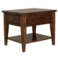 Lake House Rustic Brown Oak End Table