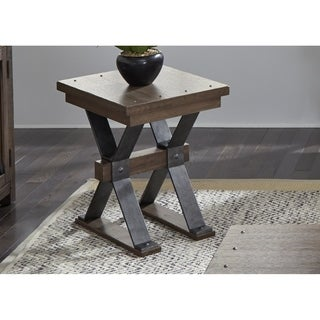 Sonoma Road Weathered Beaten Bark and Metal Chair Side Table