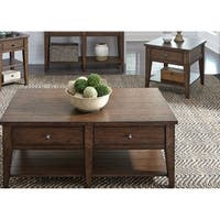 Lake House Rustic Brown Oak 3-piece Occasional Set