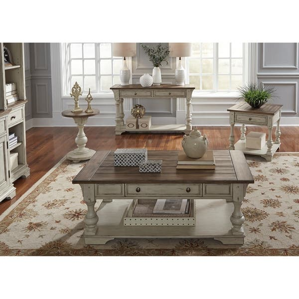 Shop Morgan Creek Antique White and Tobacco Chair Side Table ...