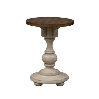 Morgan Creek Antique White and Tobacco Chair Side Table