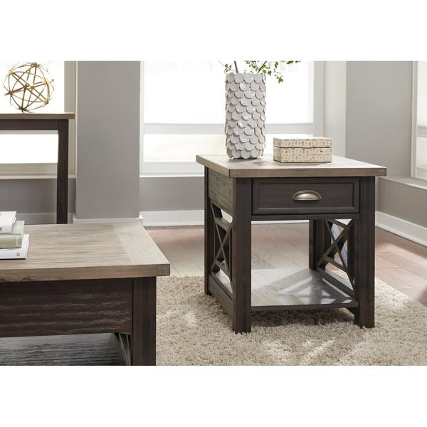 Heatherbrook Charcoal and Ash Drawer End Table