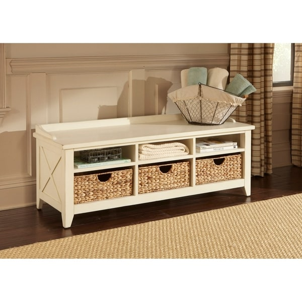shop heathstone rustic white cubby storage bench on sale free shipping today. Black Bedroom Furniture Sets. Home Design Ideas