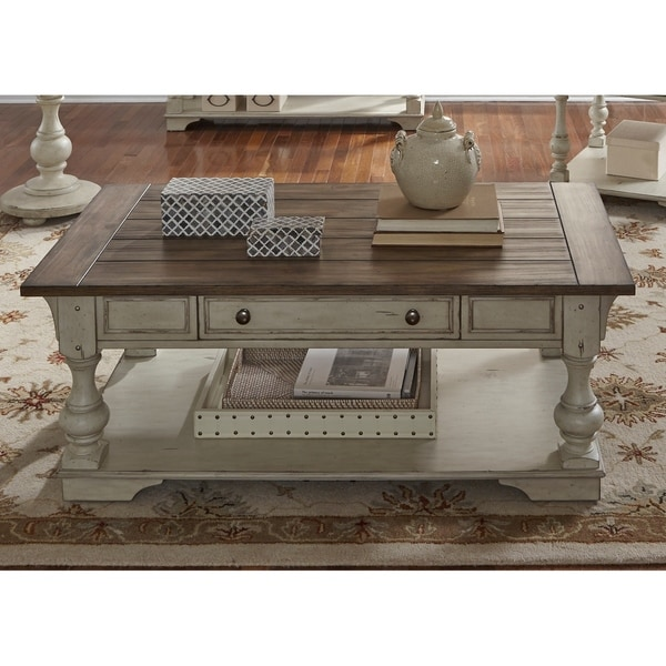 Shop Morgan Creek Antique White And Tobacco Cocktail Table